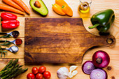 Cutting board with fresh ingredients for cooking