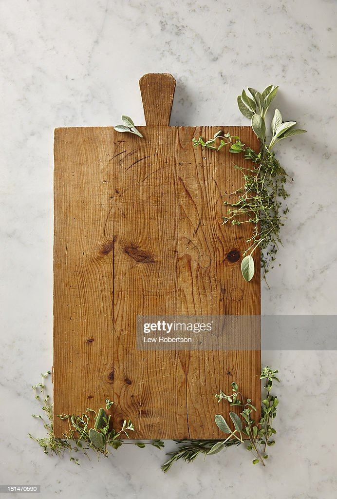 Cutting board with herbs
