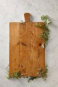 Cutting board with herbs