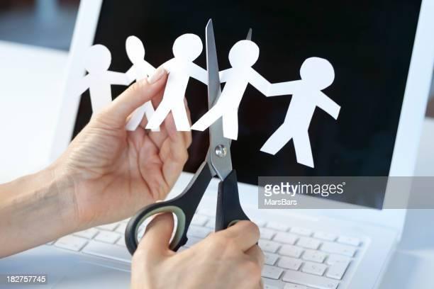 Moderne Arbeitsplätze oder Stellenabbau Konzept