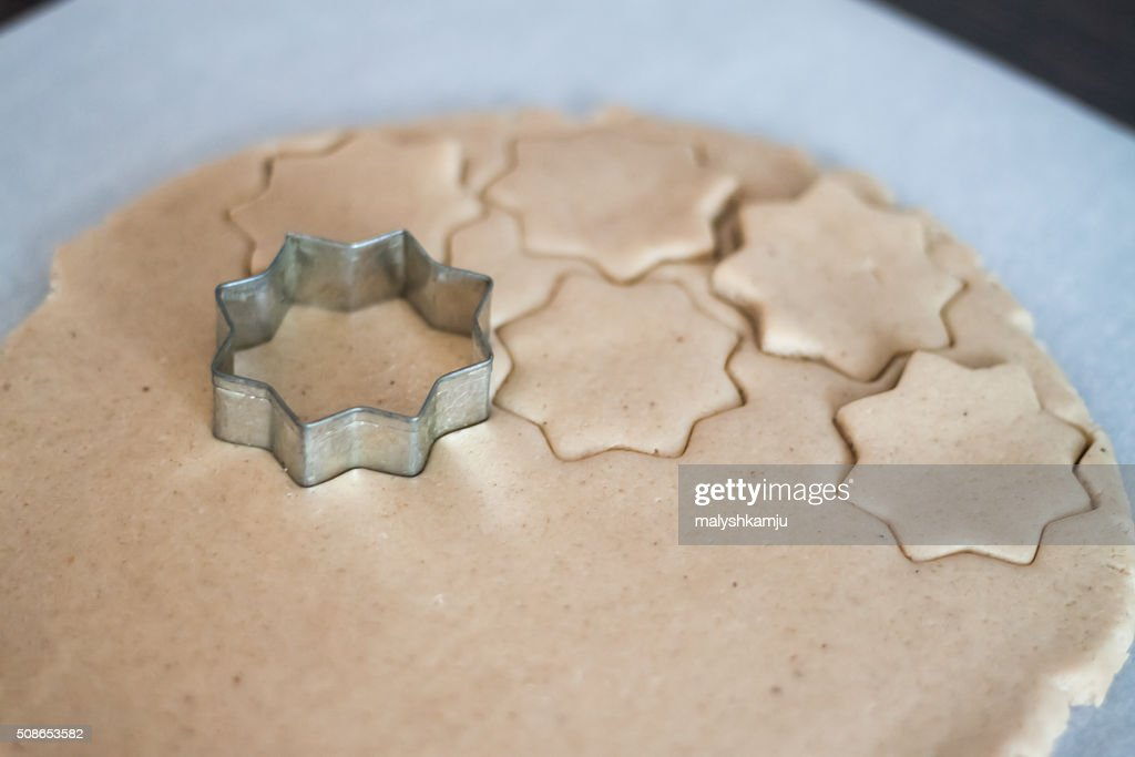 cutting molds dough gingerbread : Stock Photo