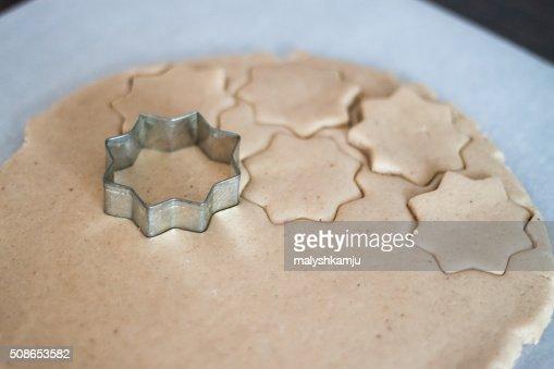 cutting molds dough gingerbread : Stock Photo