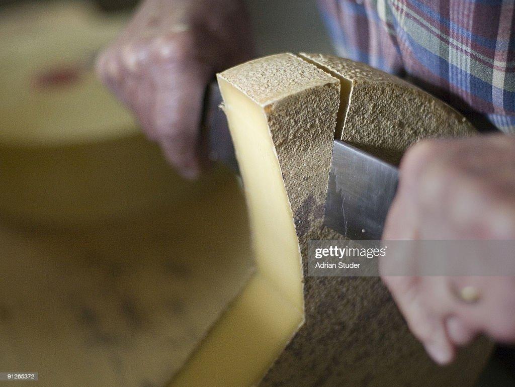 Cutting Swiss mountain cheese : Stock Photo