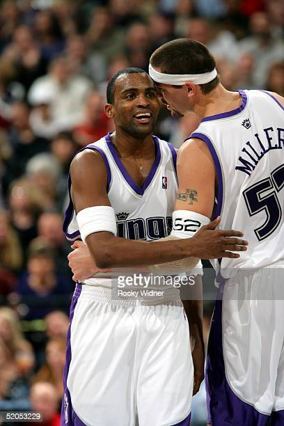 Cuttino Mobley and Brad Miller of the Sacramento Kings congratulate each other on a good play against the San Antonio Spurs on January 23 2005 at...