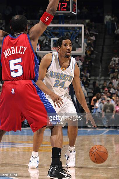 Cuttino Mobley of the Los Angeles Clippers defends against Andre Miller of the Denver Nuggets in game three of the Western Conference Quarterfinals...