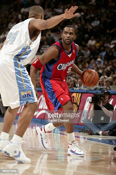 Cuttino Mobley of the Los Angeles Clippers is defended by Andre Miller of the Denver Nuggets on January 27 2006 at the Pepsi Center in Denver...