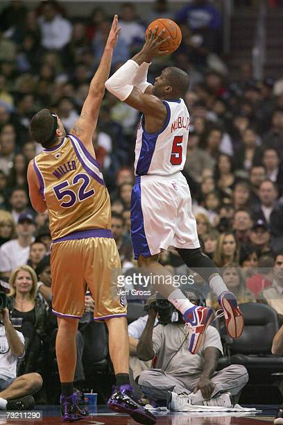 Cuttino Mobley of the Los Angeles Clippers shoots against Brad Miller of the Sacramento Kings during the game on December 29 2006 at Staples Center...