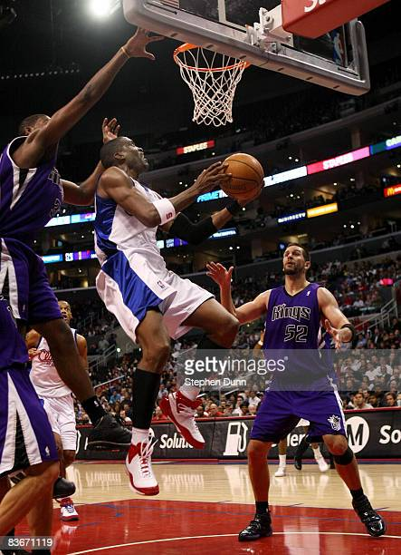 Cuttino Mobley of the Los Angeles Clippers shoots over Brad Miller of the Sacramento Kings on November 12 2008 at Staples Center in Los Angeles...