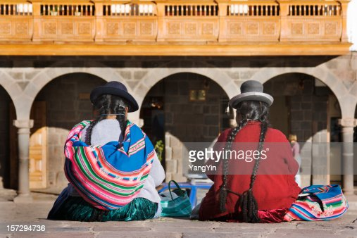 Cuzco, Peru—Indigenous Latin American Women Sitting in Traditional Clothing