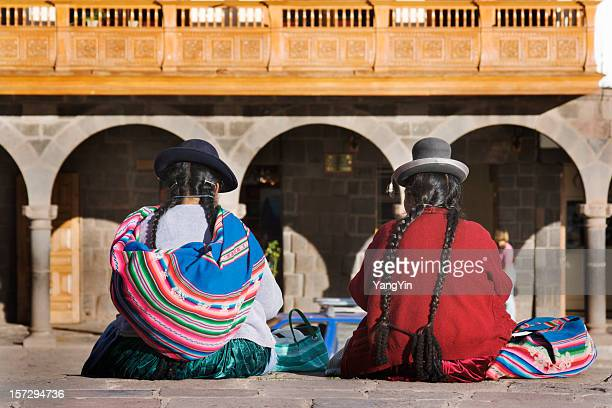 Cuzco, Peru—Indigenous Latin American Women Sitting in Traditional Clothing