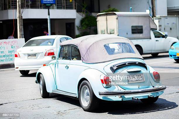 Cyan colored VW Beetle convertible oldtimer