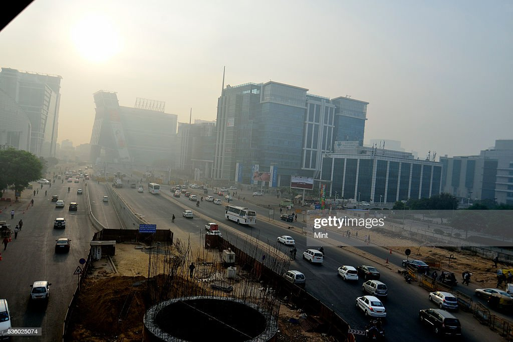 Cyber city in office hub witnesses a low visibility due to air pollution on December 8, 2015 in Gurgoan, India.