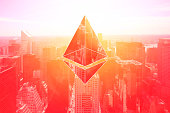 cyber crypto currency on business buildings landscape, composed image on vintage red, success business concepts