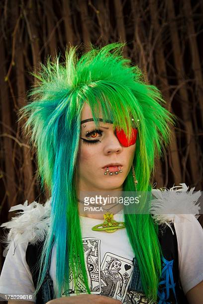 Cyber goth style with green hair and vivienne westwood necklace Helsinki Finland 2010