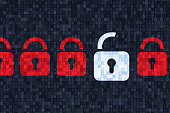Four red closed padlock and one white open padlock symbols on dark grey alphanumeric code pixelated background.