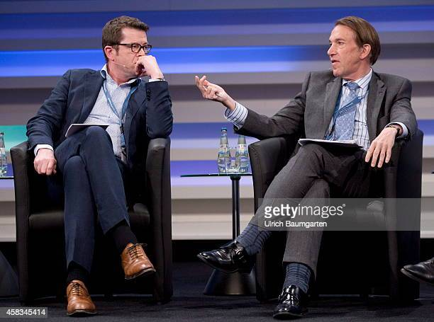 Cyber Security Summit 2014 at the Telekom in Bonn KarlTheodor zu Guttenberg and Christopher Painter Cyber coordinator at US Department of State...