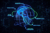 A digital world globe showing the Americas. The globe is sorrounded by swirling communication lines and infographics with security messages. The border of the image features a generic blueprint repres