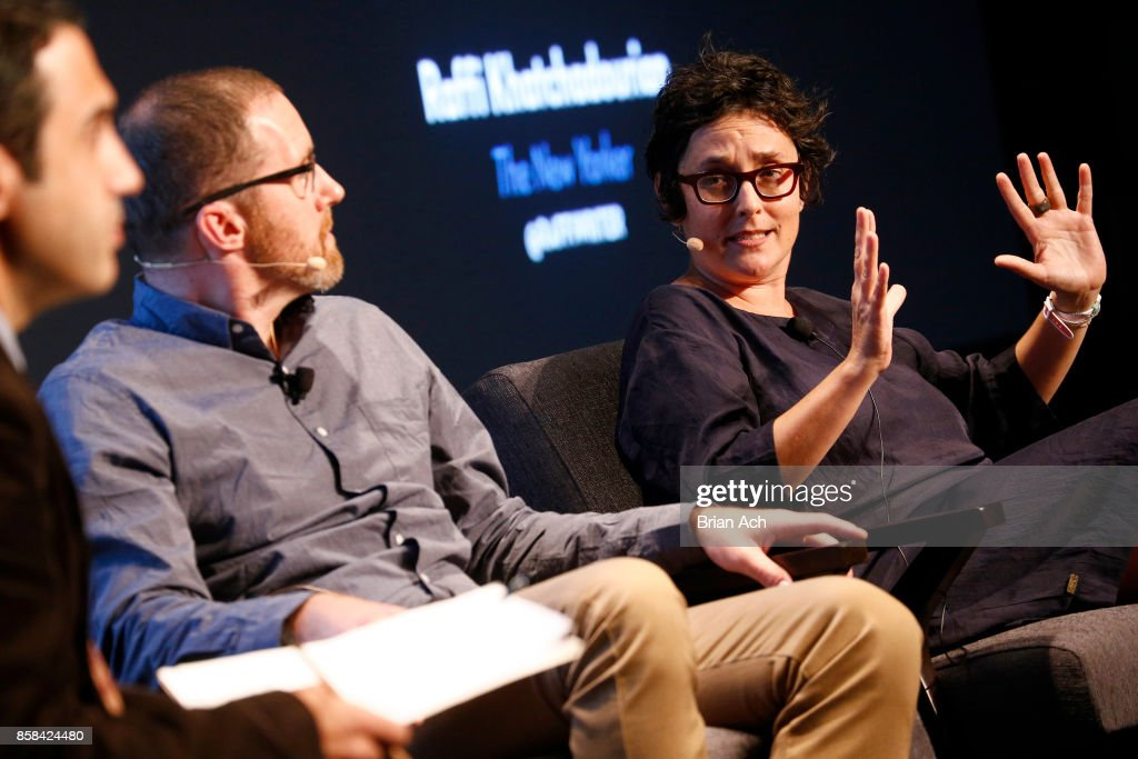 Cyber-Warfare Expert Thomas Rid and Anthropologist Gabriella Coleman speak onstage during the 2017 New Yorker TechFest at Cedar Lake on October 6, 2017 in New York City.