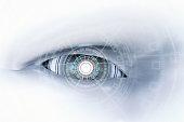 3d rendering cyborg eye with virtual display