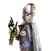 Half-human, half-robot: The hominid robot manages interactive system. Robot technology will soon take the place of people. Who will win? Is humanity, or is cyborg?