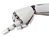Humanoid robot hand. Futuristic cyborg concept. High quality 3D rendering. Isolated on white background.