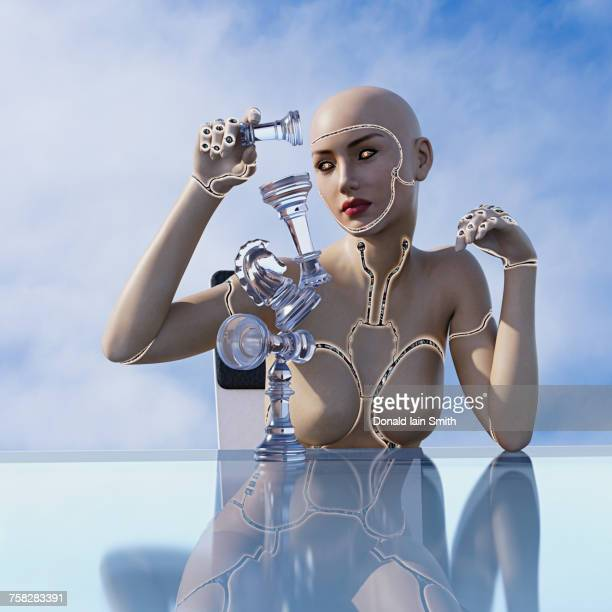 Cyborg woman balancing chess pieces