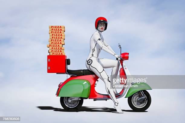 Cyborg woman delivering pizza on motor scooter