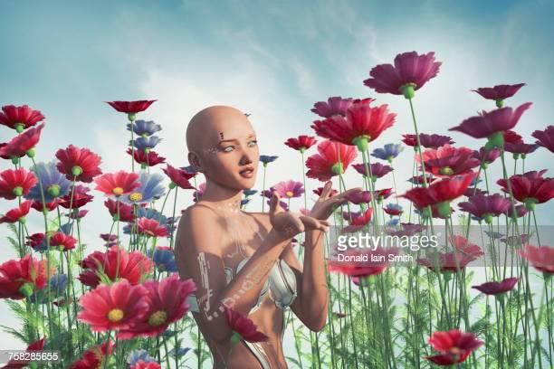 Cyborg woman enjoying flowers