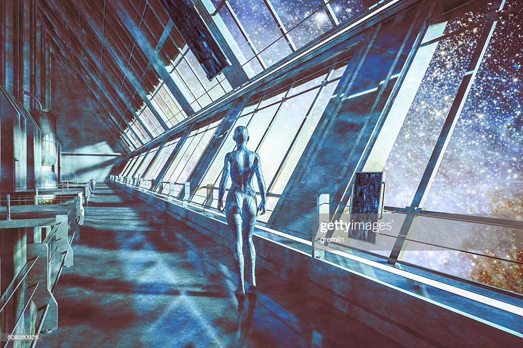 Cyborgs in spaceship, watching stars, universe : Stock Photo