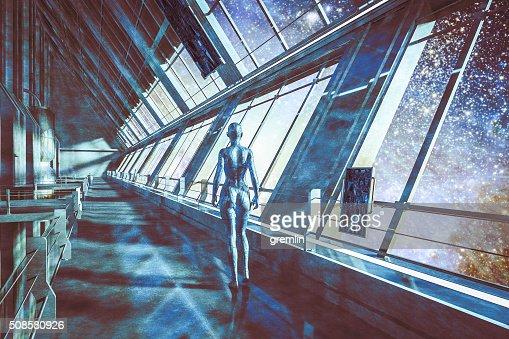 Cyborgs de vaisseau spatial, en regardant les étoiles, univers : Photo