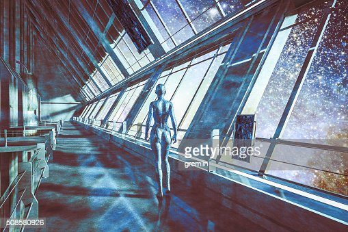 Cyborgs in spaceship, watching stars, universe : Stock Photo