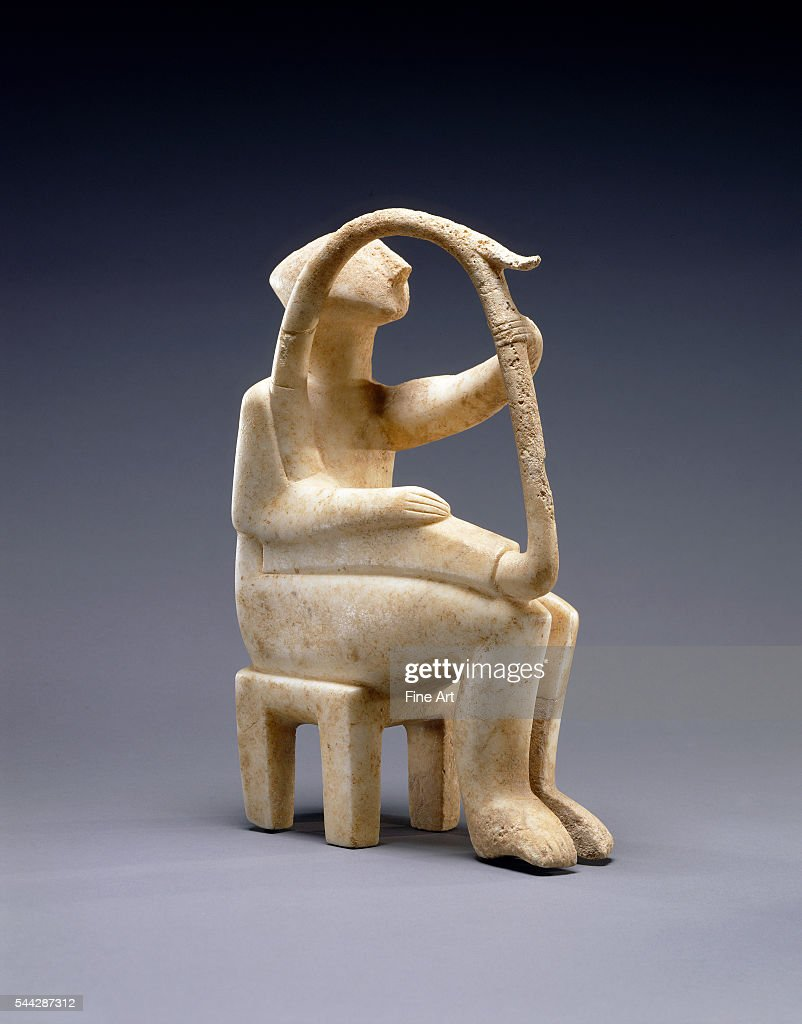cycladic art the getty harp player Aa beautiful cycladic idol of timeless beauty and form showing a flute player the cycladic civilization of the aegean sea flourished at about the same time as the early egyptian and mesopotamian civilizations (c 3000-2000 bc) and is considered the forerunner of the first truly european civilization.