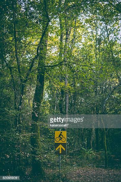 Fahrradweges Zeichen im Wald