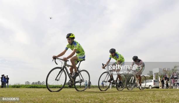 Cycle race in progress on the inaugural day of Kila Raipur Rural Sports Festival at village Kila Raipur on February 17 2017 in Ludhiana India