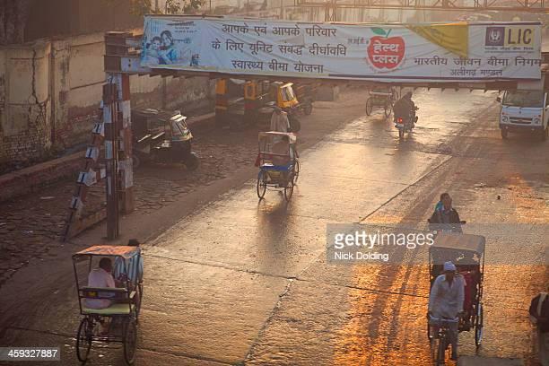Cycle rickshaws at dawn hear Agra