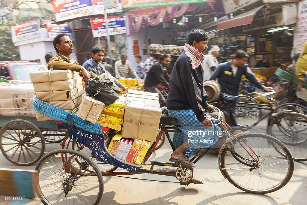 Cycle Rickshaws, Chandi Chowk Market, Old Delhi : Stock Photo
