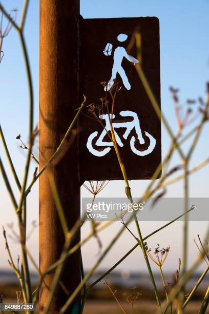Cycle route sign Pudent Lake Formentera