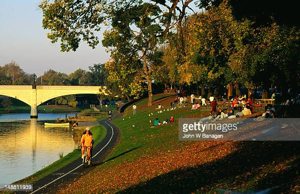 Cycle track and picnic barbecues along Yarra River, South Yarra.