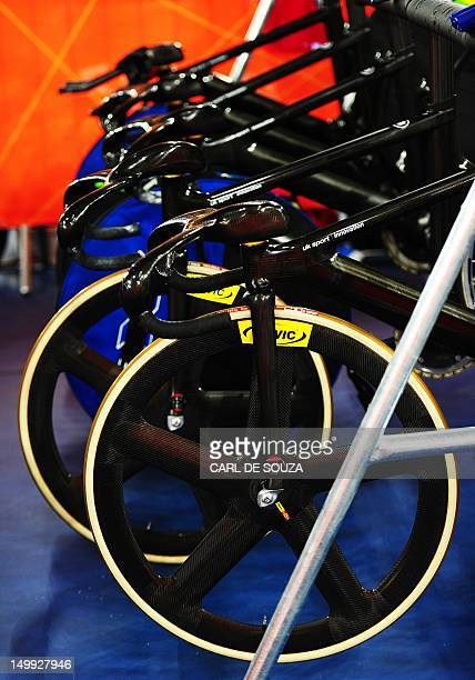 Cycle wheels on Team GB bikes are pictured at the velodrome venue in the Olympic Park during the London 2012 Olympic games in London on August 7 2012...