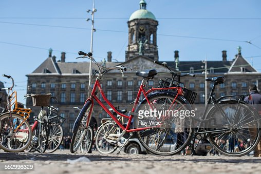 Cycles outside the Royal Palace in  Amsterdam