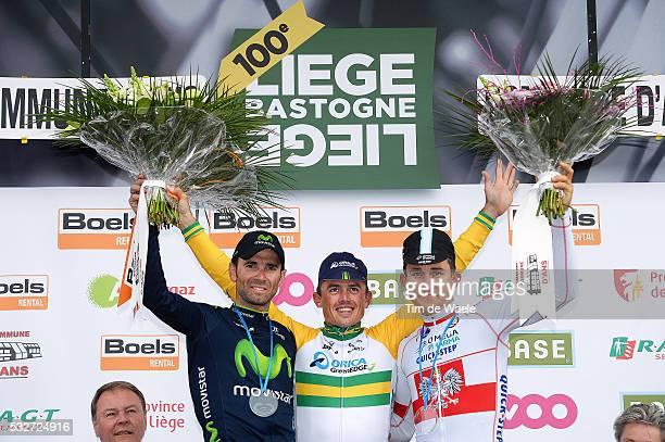 100th Liege Bastogne Liege 2014 Podium / Alejandro Valverde / Simon Gerrans / Michal Kwiatkowski / Celebration Joie Vreugde / Liege Ans / Luik...