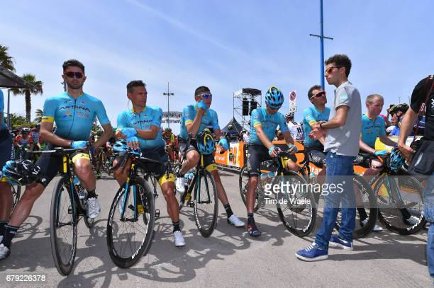 100th Tour of Italy 2017 / Stage 1 Start / Fabio ARU / Team ASTANA lines up at the start in memory of Michele SCARPONI / Dario CATALDO / Pello BILBAO...