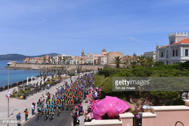 100th Tour of Italy 2017 / Stage 1 Start / Team ASTANA lines up at the start in memory of Michele SCARPONI / Landscape / Peloton / Alghero City /...