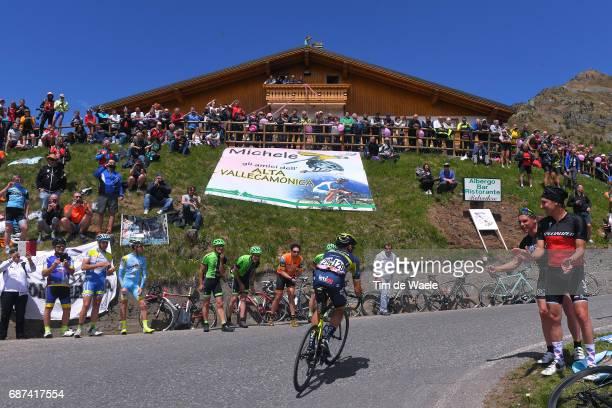 100th Tour of Italy 2017 / Stage 16 Carlos VERONA / Passo Del Mortirolo / Michele SCARPONI Flag / Fans / Rovetta Bormio / Giro /