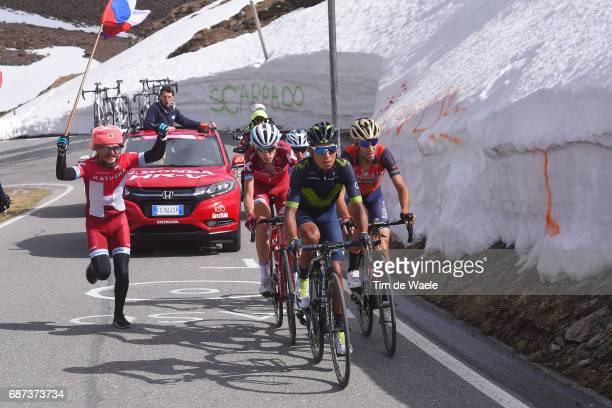 100th Tour of Italy 2017 / Stage 16 Nairo QUINTANA / Ilnur ZAKARIN / Vincenzo NIBALI / Domenico POZZOVIVO / Umbrailpass / Fan / Public / Team Katusha...