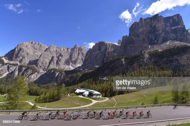 100th Tour of Italy 2017 / Stage 18 Peloton / Passo Gardena Mountains / Landscape / Tom DUMOULIN Pink Leader Jersey / Domenico POZZOVIVO / Nairo...