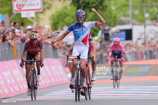 100th Tour of Italy 2017 / Stage 20 Arrival / Thibaut PINOT Celebration / Vincenzo NIBALI / Ilnur ZAKARIN / Nairo QUINTANA Pink Leader Jersey /...