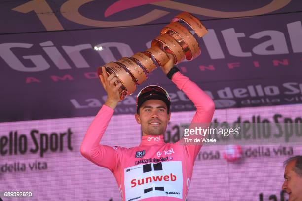 100th Tour of Italy 2017 / Stage 21 Podium / Tom DUMOULIN Pink Leader Jersey/ Celebration / Trophy/ MonzaAutrodromo Nazionale MilanoDuomo /...