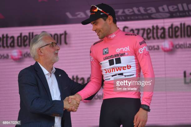 100th Tour of Italy 2017 / Stage 21 Podium / Tom DUMOULIN Pink Leader Jersey/ Brian COOKSON UCI President / Celebration / Trophy/ MonzaAutrodromo...