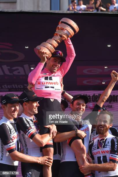 100th Tour of Italy 2017 / Stage 21 Podium / Tom DUMOULIN Pink Leader Jersey/ Team Sunweb / Phil BAUHAUS / Simon GESCHKE / Chad HAGA / Wilco...
